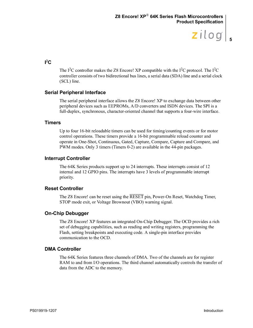 Z8F4823FT020EC ,Zilog厂商,IC ENCORE MCU FLASH 48K 80QFP, Z8F4823FT020EC datasheet预览  第19页