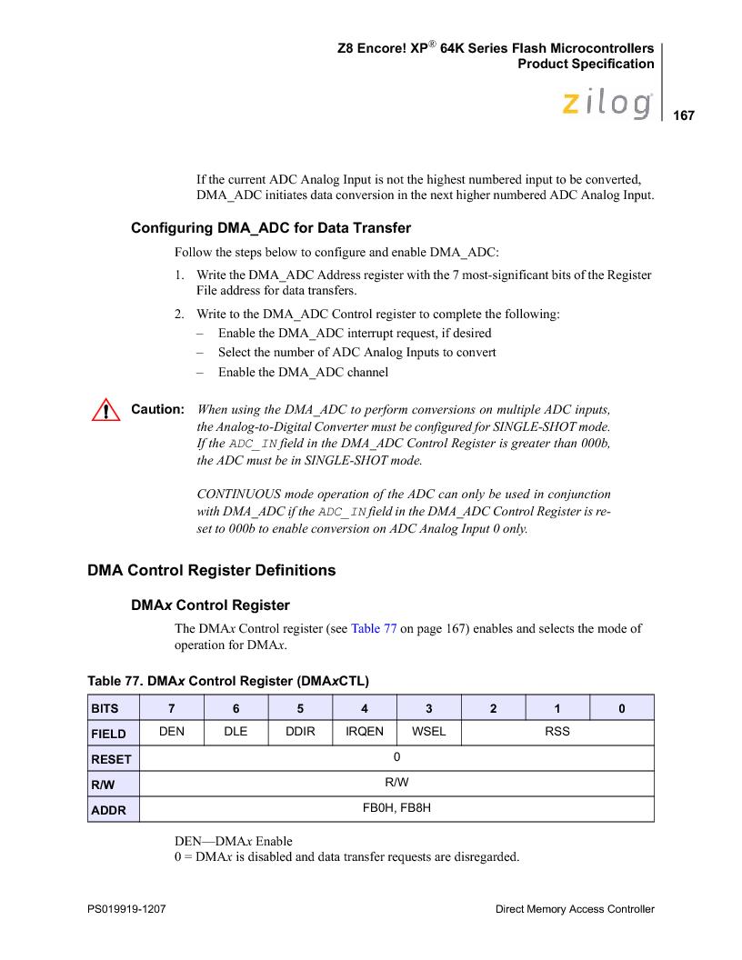 Z8F4823FT020EC ,Zilog厂商,IC ENCORE MCU FLASH 48K 80QFP, Z8F4823FT020EC datasheet预览  第181页
