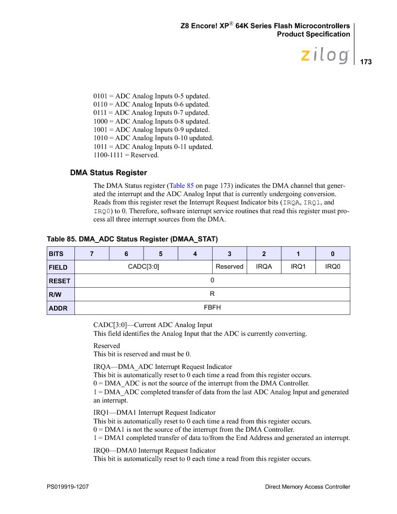 Z8F4823FT020EC ,Zilog厂商,IC ENCORE MCU FLASH 48K 80QFP, Z8F4823FT020EC datasheet预览  第187页