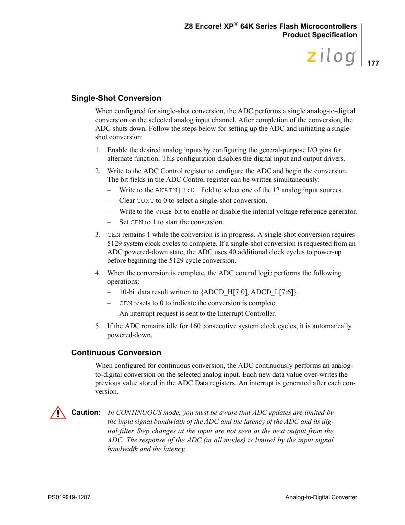 Z8F4823FT020EC ,Zilog厂商,IC ENCORE MCU FLASH 48K 80QFP, Z8F4823FT020EC datasheet预览  第191页