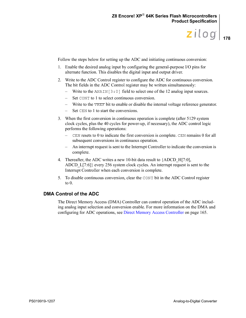 Z8F4823FT020EC ,Zilog厂商,IC ENCORE MCU FLASH 48K 80QFP, Z8F4823FT020EC datasheet预览  第192页