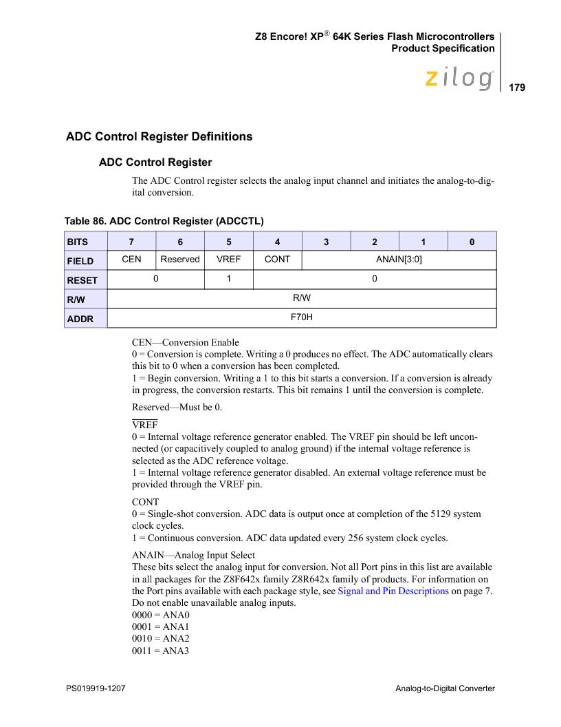 Z8F4823FT020EC ,Zilog厂商,IC ENCORE MCU FLASH 48K 80QFP, Z8F4823FT020EC datasheet预览  第193页