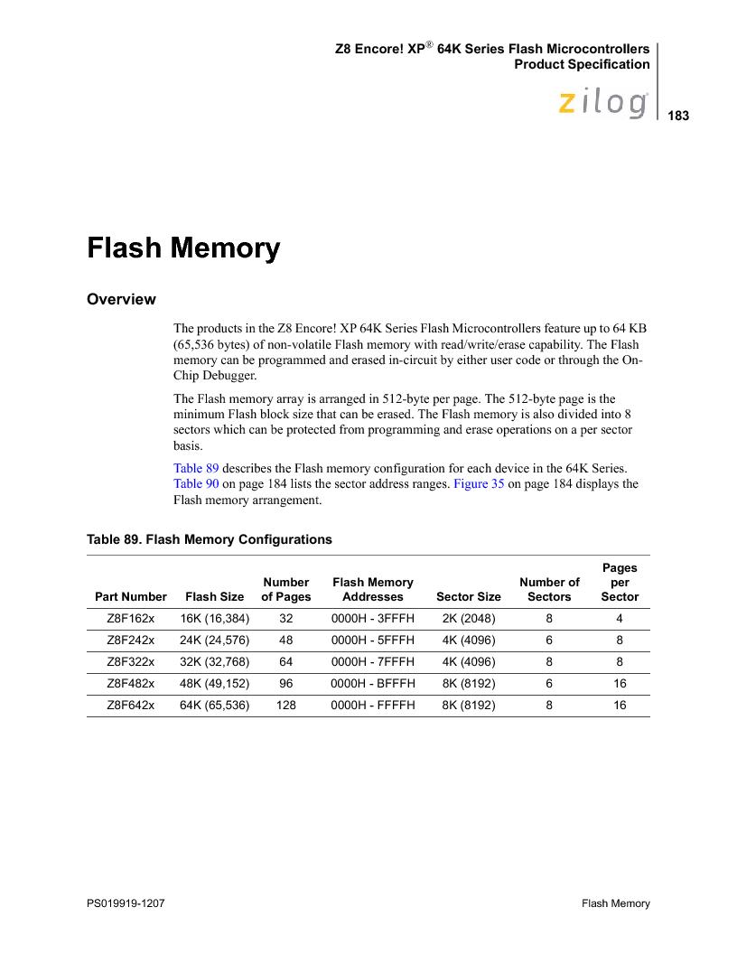 Z8F4823FT020EC ,Zilog厂商,IC ENCORE MCU FLASH 48K 80QFP, Z8F4823FT020EC datasheet预览  第197页