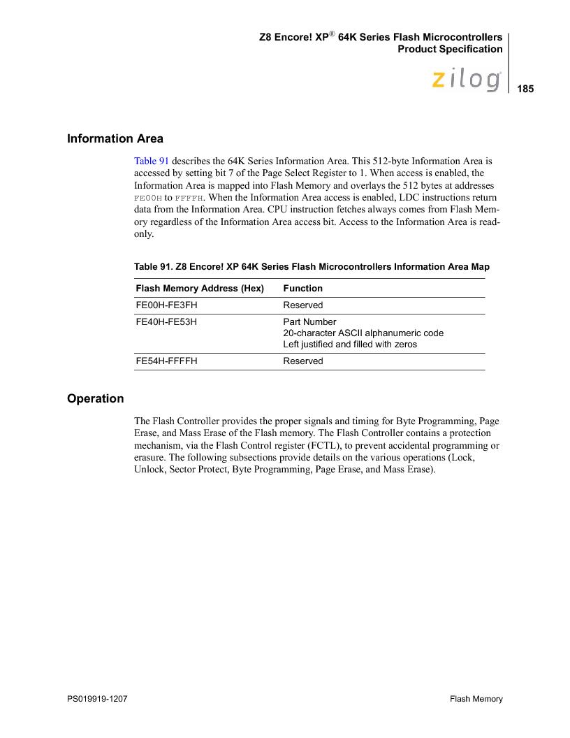 Z8F4823FT020EC ,Zilog厂商,IC ENCORE MCU FLASH 48K 80QFP, Z8F4823FT020EC datasheet预览  第199页