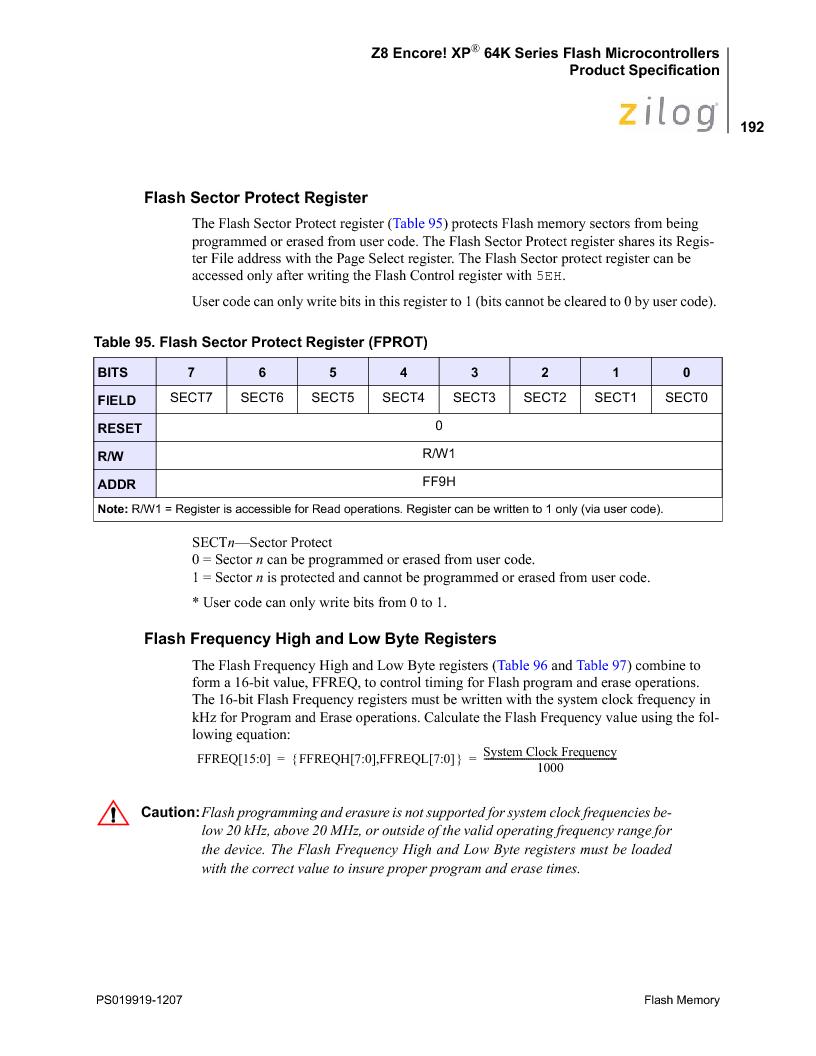 Z8F4823FT020EC ,Zilog厂商,IC ENCORE MCU FLASH 48K 80QFP, Z8F4823FT020EC datasheet预览  第206页
