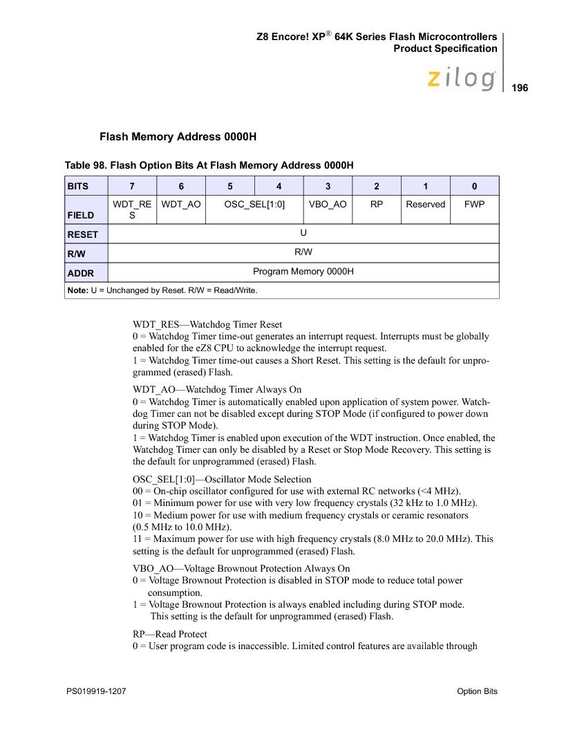 Z8F4823FT020EC ,Zilog厂商,IC ENCORE MCU FLASH 48K 80QFP, Z8F4823FT020EC datasheet预览  第210页