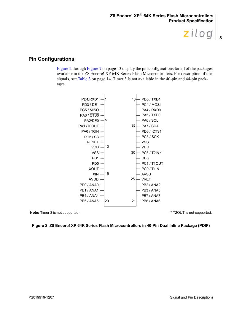 Z8F4823FT020EC ,Zilog厂商,IC ENCORE MCU FLASH 48K 80QFP, Z8F4823FT020EC datasheet预览  第22页