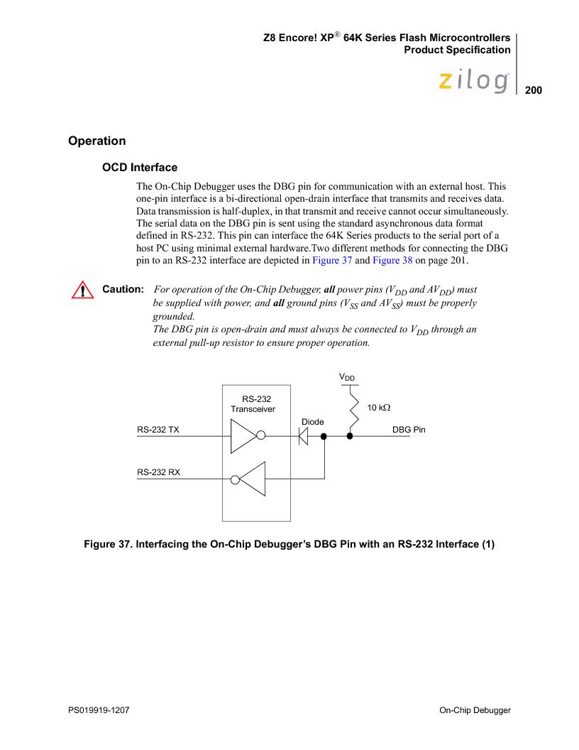 Z8F4823FT020EC ,Zilog厂商,IC ENCORE MCU FLASH 48K 80QFP, Z8F4823FT020EC datasheet预览  第214页