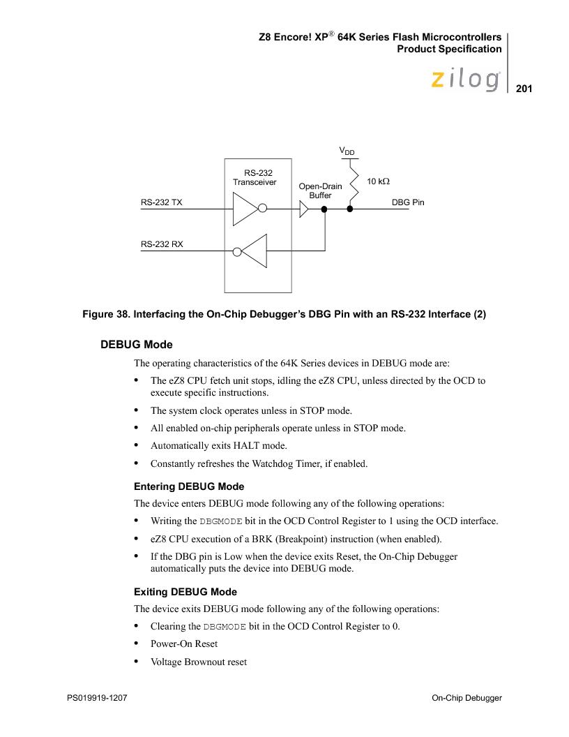 Z8F4823FT020EC ,Zilog厂商,IC ENCORE MCU FLASH 48K 80QFP, Z8F4823FT020EC datasheet预览  第215页