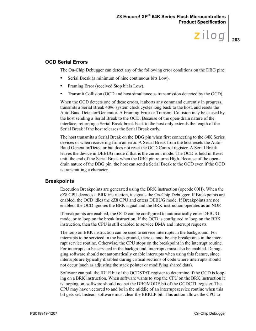 Z8F4823FT020EC ,Zilog厂商,IC ENCORE MCU FLASH 48K 80QFP, Z8F4823FT020EC datasheet预览  第217页