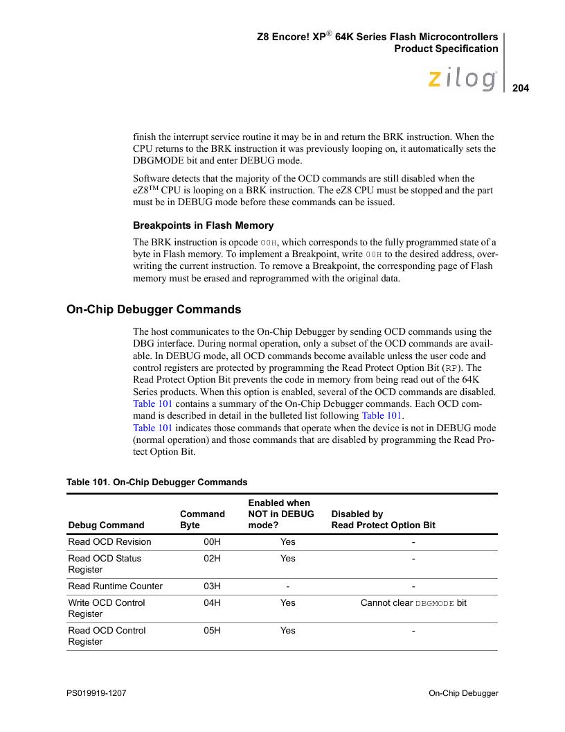 Z8F4823FT020EC ,Zilog厂商,IC ENCORE MCU FLASH 48K 80QFP, Z8F4823FT020EC datasheet预览  第218页