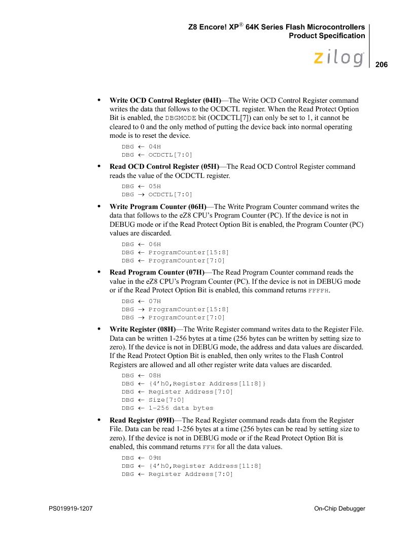 Z8F4823FT020EC ,Zilog厂商,IC ENCORE MCU FLASH 48K 80QFP, Z8F4823FT020EC datasheet预览  第220页