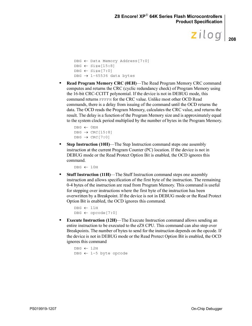 Z8F4823FT020EC ,Zilog厂商,IC ENCORE MCU FLASH 48K 80QFP, Z8F4823FT020EC datasheet预览  第222页