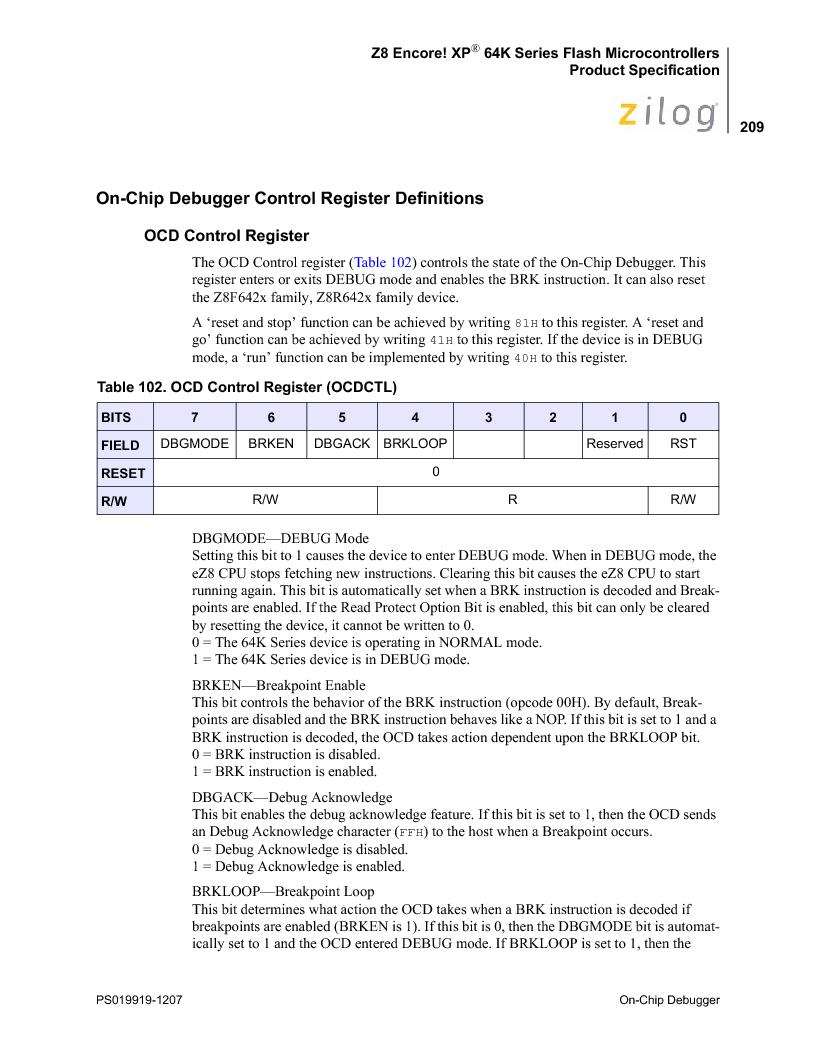 Z8F4823FT020EC ,Zilog厂商,IC ENCORE MCU FLASH 48K 80QFP, Z8F4823FT020EC datasheet预览  第223页