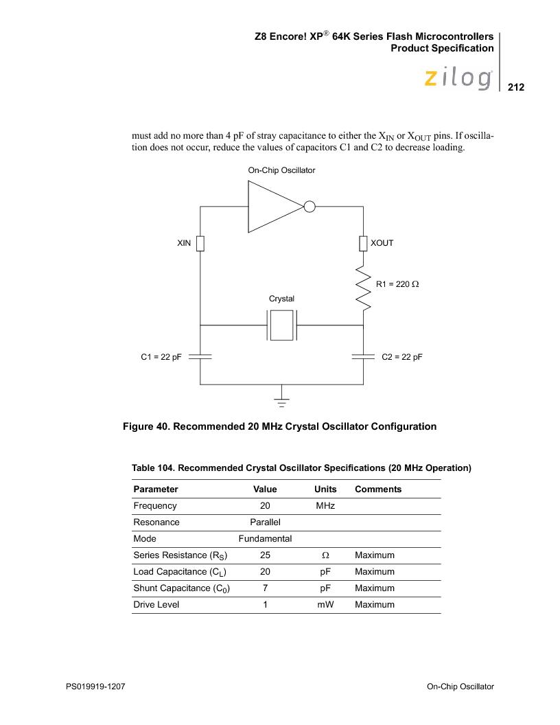 Z8F4823FT020EC ,Zilog厂商,IC ENCORE MCU FLASH 48K 80QFP, Z8F4823FT020EC datasheet预览  第226页