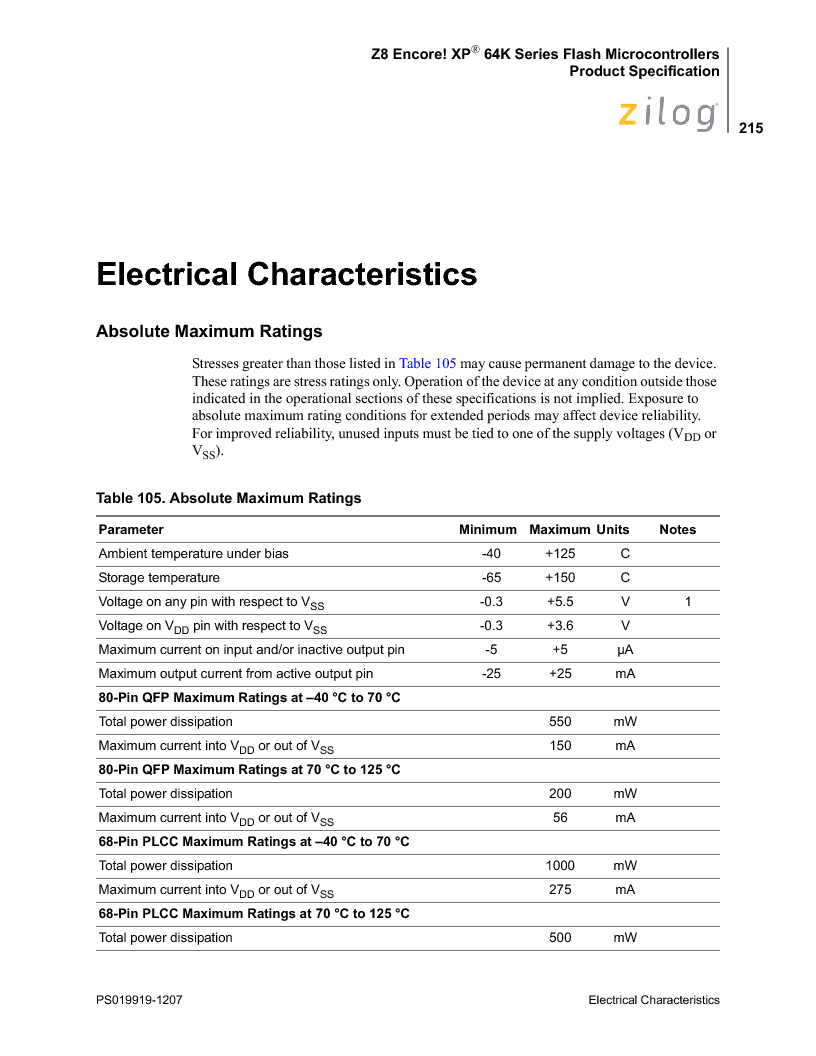 Z8F4823FT020EC ,Zilog厂商,IC ENCORE MCU FLASH 48K 80QFP, Z8F4823FT020EC datasheet预览  第229页