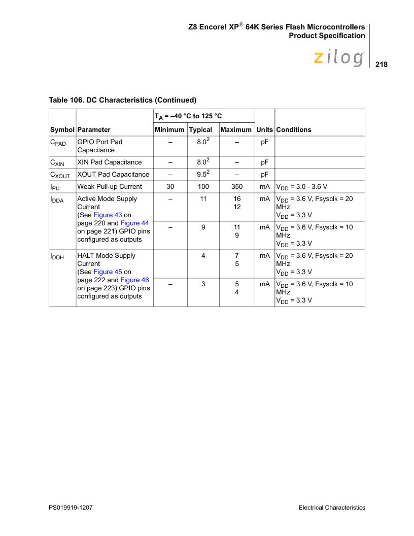 Z8F4823FT020EC ,Zilog厂商,IC ENCORE MCU FLASH 48K 80QFP, Z8F4823FT020EC datasheet预览  第232页