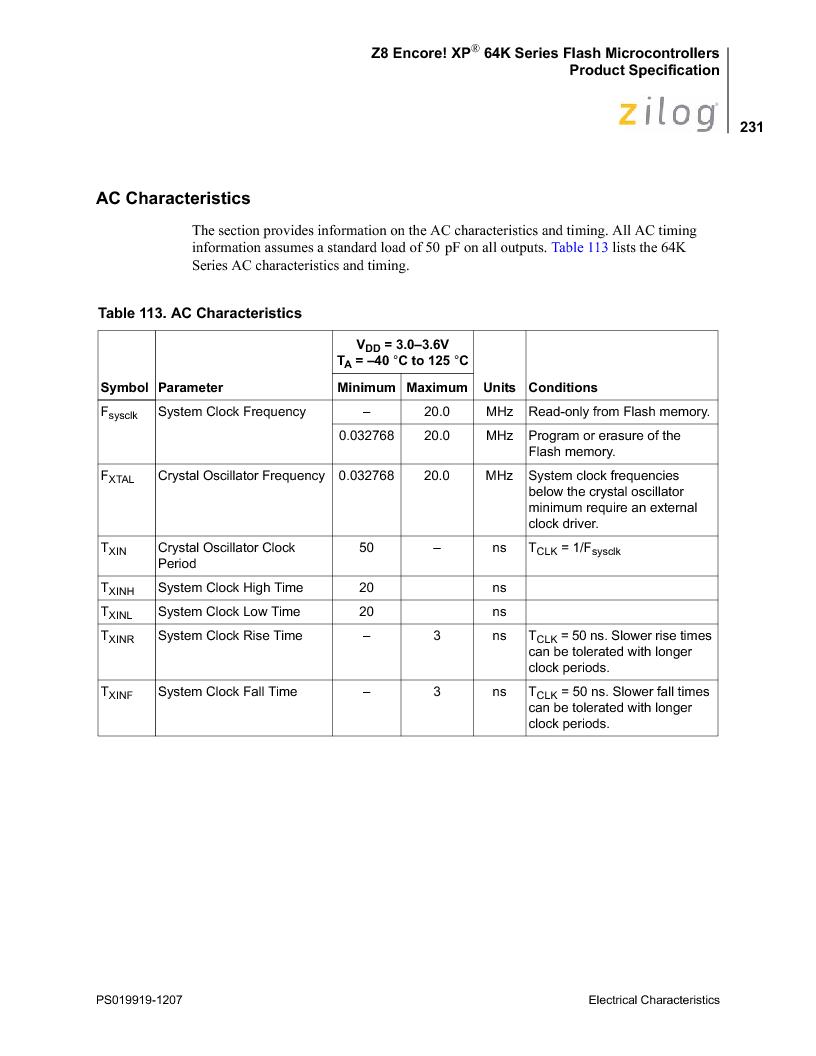 Z8F4823FT020EC ,Zilog厂商,IC ENCORE MCU FLASH 48K 80QFP, Z8F4823FT020EC datasheet预览  第245页