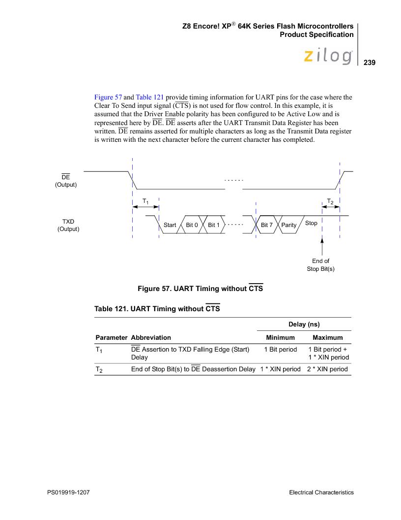 Z8F4823FT020EC ,Zilog厂商,IC ENCORE MCU FLASH 48K 80QFP, Z8F4823FT020EC datasheet预览  第253页