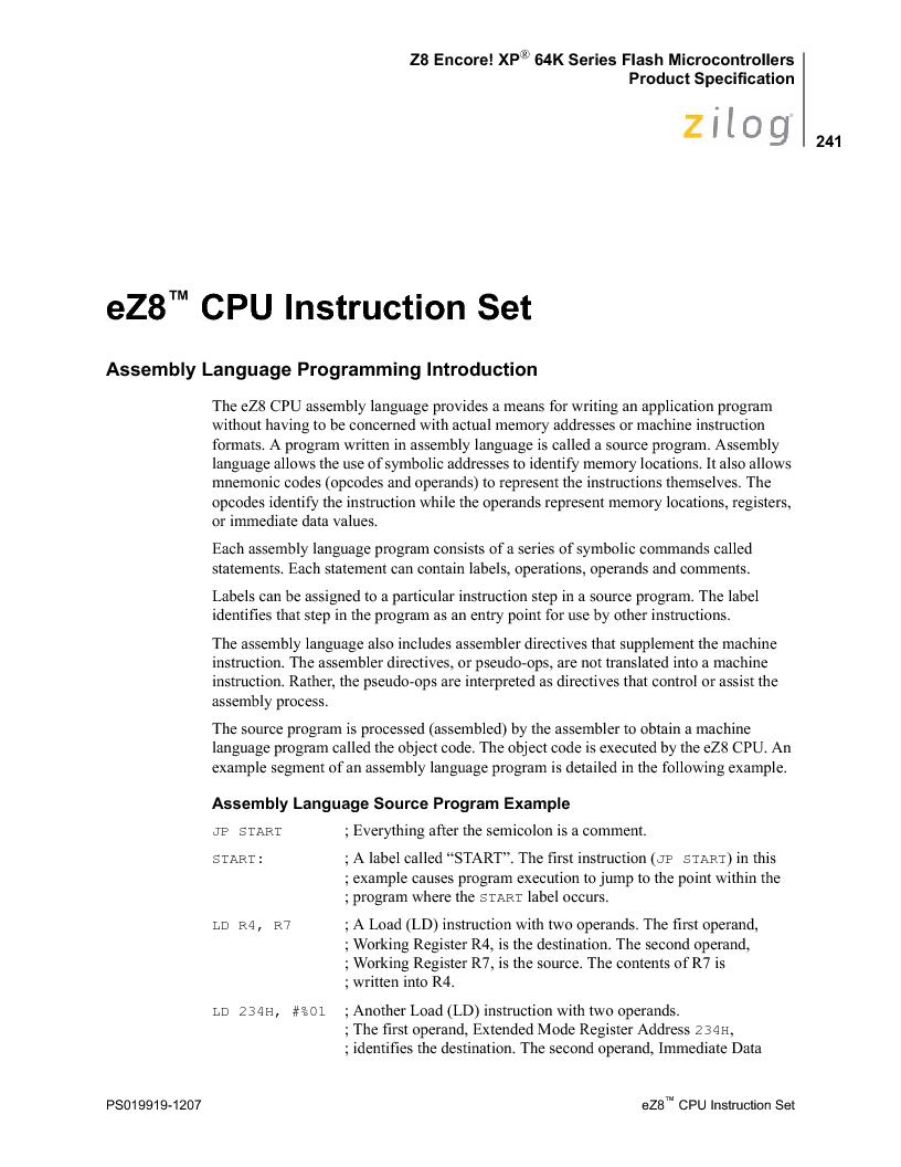 Z8F4823FT020EC ,Zilog厂商,IC ENCORE MCU FLASH 48K 80QFP, Z8F4823FT020EC datasheet预览  第255页
