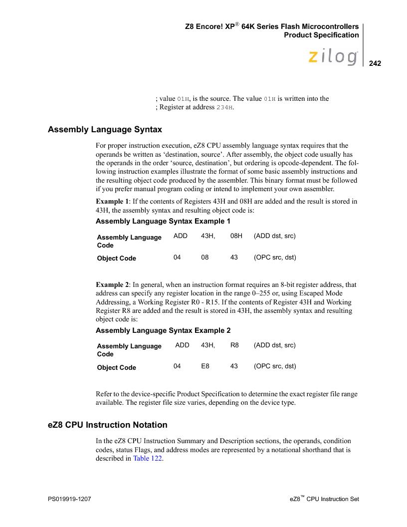 Z8F4823FT020EC ,Zilog厂商,IC ENCORE MCU FLASH 48K 80QFP, Z8F4823FT020EC datasheet预览  第256页