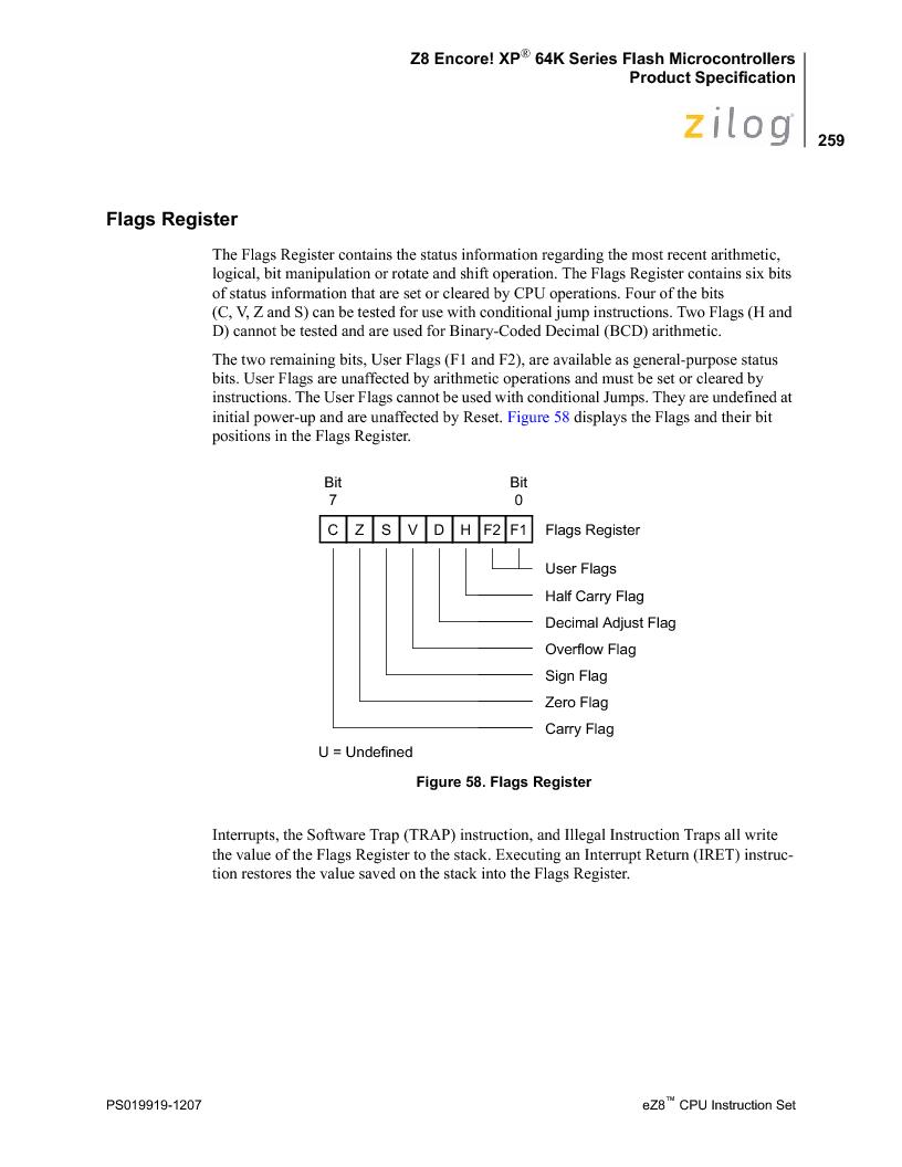 Z8F4823FT020EC ,Zilog厂商,IC ENCORE MCU FLASH 48K 80QFP, Z8F4823FT020EC datasheet预览  第273页