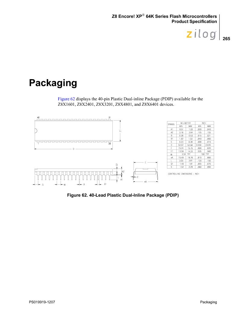 Z8F4823FT020EC ,Zilog厂商,IC ENCORE MCU FLASH 48K 80QFP, Z8F4823FT020EC datasheet预览  第279页