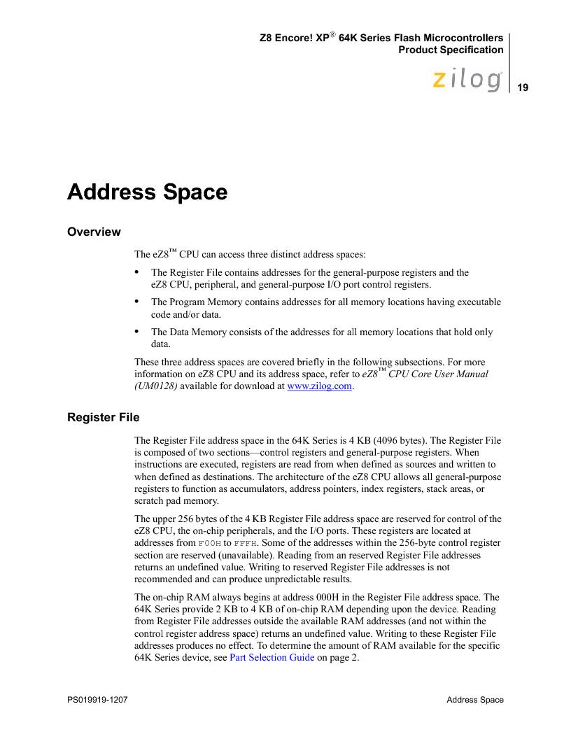 Z8F4823FT020EC ,Zilog厂商,IC ENCORE MCU FLASH 48K 80QFP, Z8F4823FT020EC datasheet预览  第33页