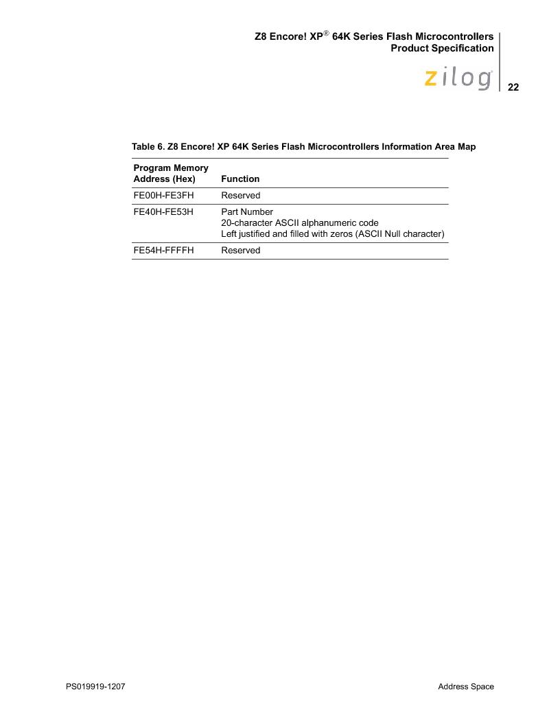 Z8F4823FT020EC ,Zilog厂商,IC ENCORE MCU FLASH 48K 80QFP, Z8F4823FT020EC datasheet预览  第36页