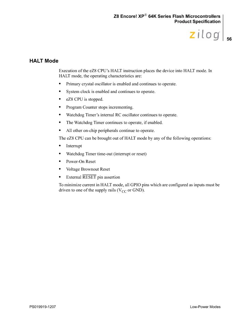 Z8F4823FT020EC ,Zilog厂商,IC ENCORE MCU FLASH 48K 80QFP, Z8F4823FT020EC datasheet预览  第70页