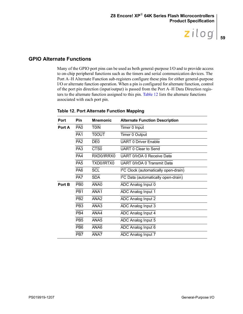 Z8F4823FT020EC ,Zilog厂商,IC ENCORE MCU FLASH 48K 80QFP, Z8F4823FT020EC datasheet预览  第73页