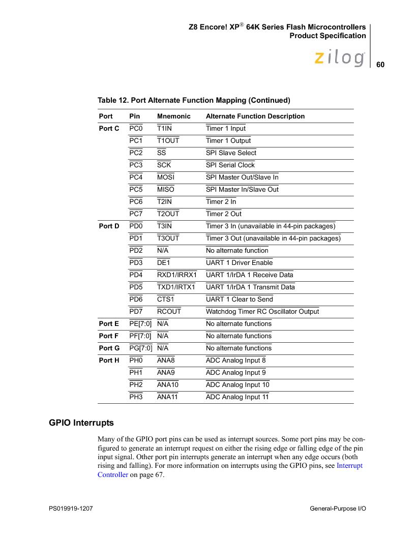 Z8F4823FT020EC ,Zilog厂商,IC ENCORE MCU FLASH 48K 80QFP, Z8F4823FT020EC datasheet预览  第74页