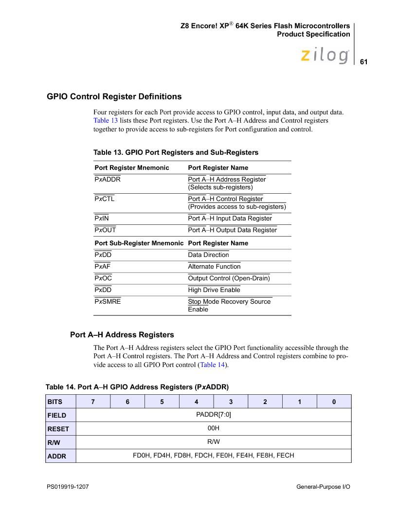 Z8F4823FT020EC ,Zilog厂商,IC ENCORE MCU FLASH 48K 80QFP, Z8F4823FT020EC datasheet预览  第75页