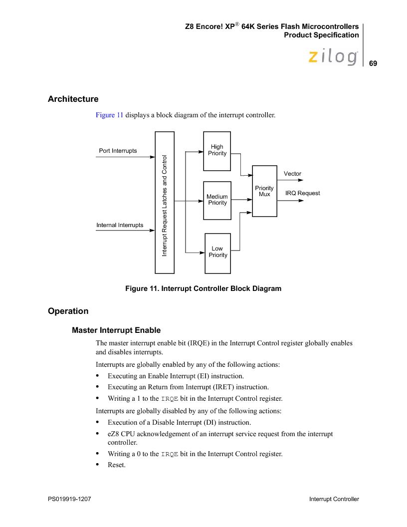 Z8F4823FT020EC ,Zilog厂商,IC ENCORE MCU FLASH 48K 80QFP, Z8F4823FT020EC datasheet预览  第83页