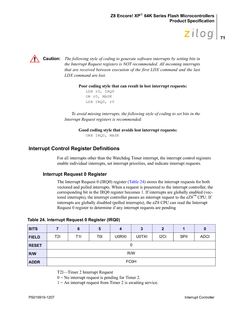 Z8F4823FT020EC ,Zilog厂商,IC ENCORE MCU FLASH 48K 80QFP, Z8F4823FT020EC datasheet预览  第85页