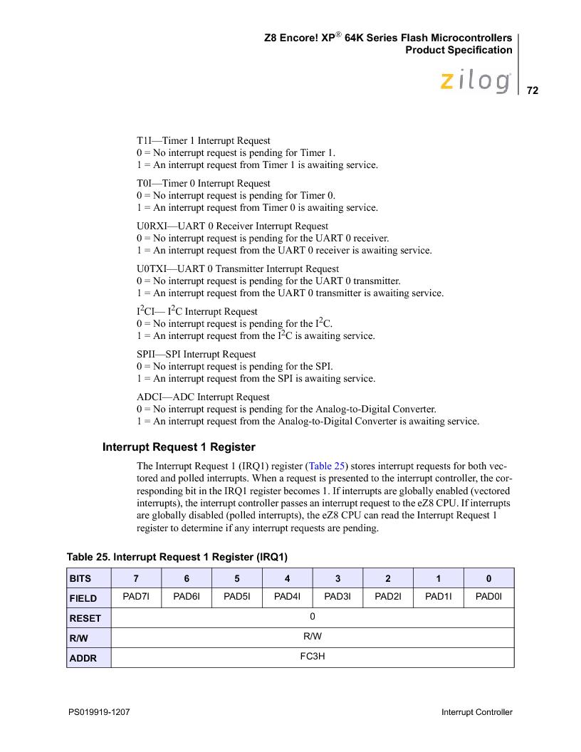 Z8F4823FT020EC ,Zilog厂商,IC ENCORE MCU FLASH 48K 80QFP, Z8F4823FT020EC datasheet预览  第86页