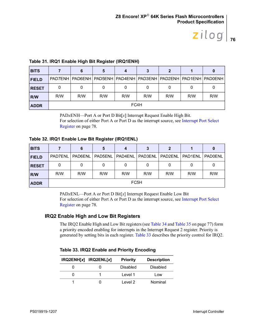 Z8F4823FT020EC ,Zilog厂商,IC ENCORE MCU FLASH 48K 80QFP, Z8F4823FT020EC datasheet预览  第90页