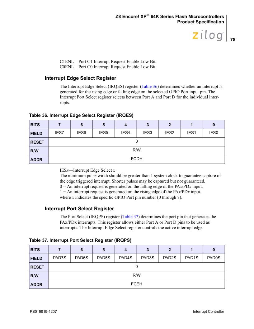 Z8F4823FT020EC ,Zilog厂商,IC ENCORE MCU FLASH 48K 80QFP, Z8F4823FT020EC datasheet预览  第92页