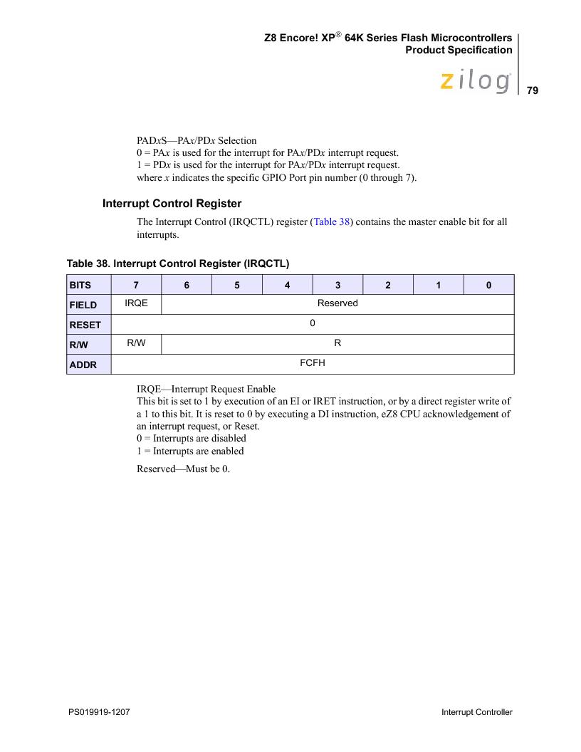 Z8F4823FT020EC ,Zilog厂商,IC ENCORE MCU FLASH 48K 80QFP, Z8F4823FT020EC datasheet预览  第93页
