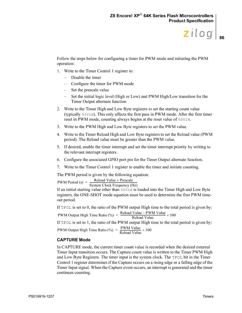 Z8F4823FT020EC ,Zilog厂商,IC ENCORE MCU FLASH 48K 80QFP, Z8F4823FT020EC datasheet预览  第100页