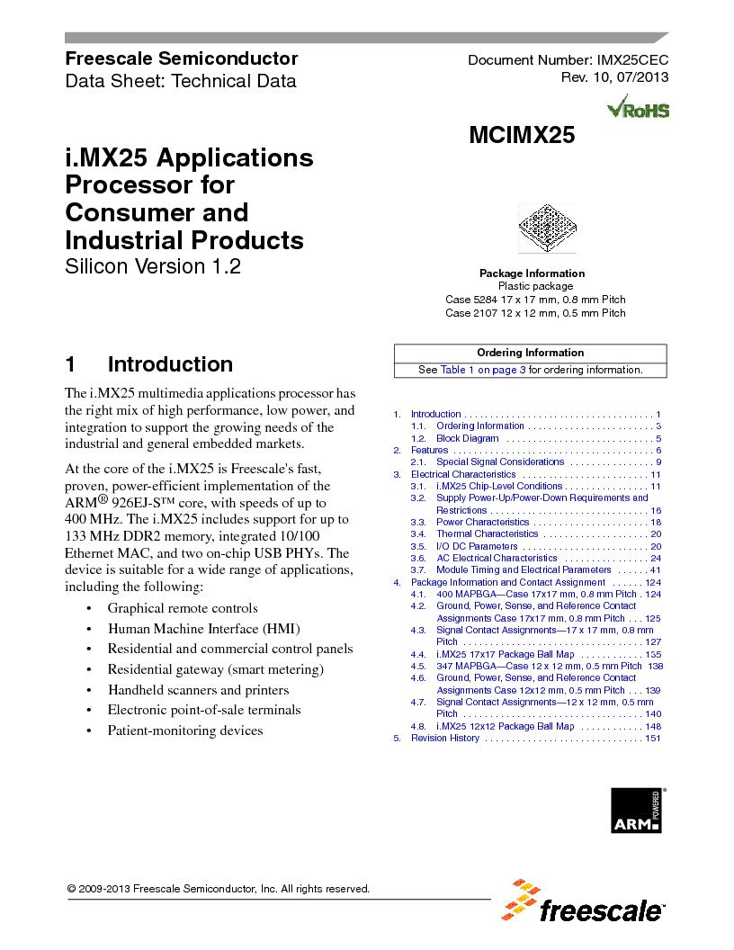 MCIMX253CVM4 ,Freescale Semiconductor厂商,IC MPU I.MX25 IND 400MAPBGA, MCIMX253CVM4 datasheet预览  第1页