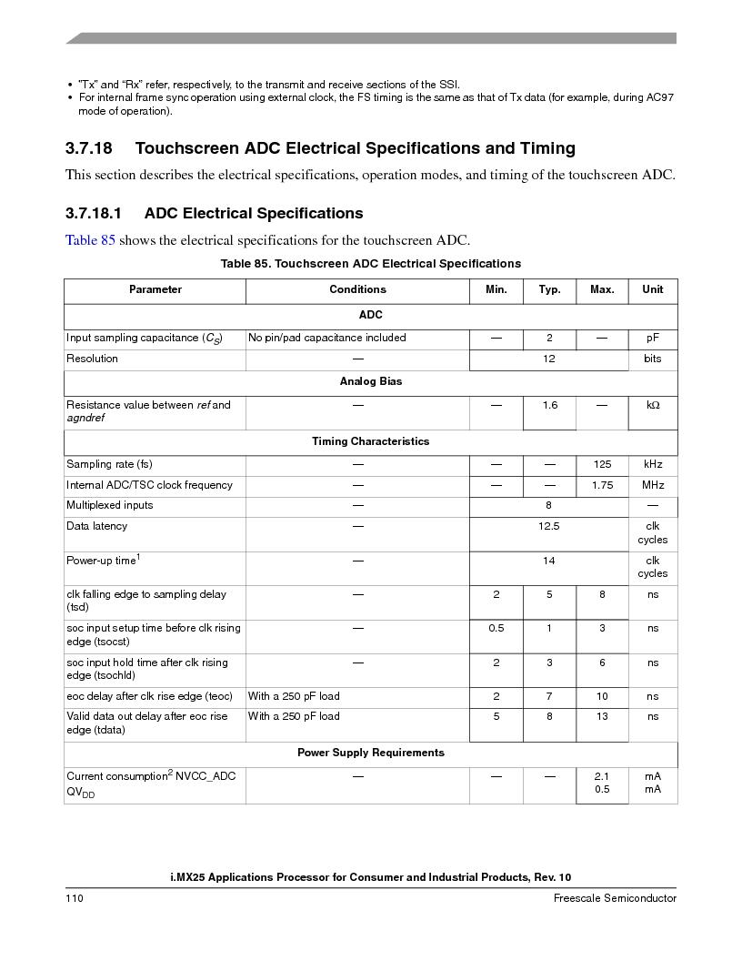 MCIMX253CVM4 ,Freescale Semiconductor厂商,IC MPU I.MX25 IND 400MAPBGA, MCIMX253CVM4 datasheet预览  第110页
