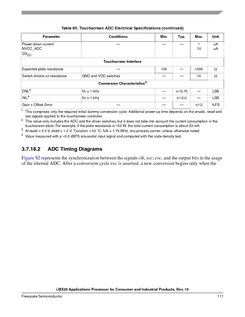 MCIMX253CVM4 ,Freescale Semiconductor厂商,IC MPU I.MX25 IND 400MAPBGA, MCIMX253CVM4 datasheet预览  第111页