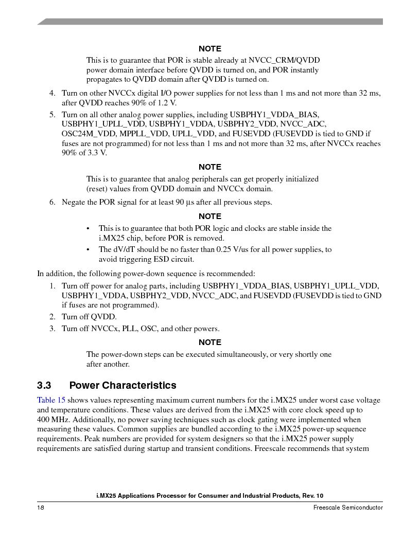 MCIMX253CVM4 ,Freescale Semiconductor厂商,IC MPU I.MX25 IND 400MAPBGA, MCIMX253CVM4 datasheet预览  第18页