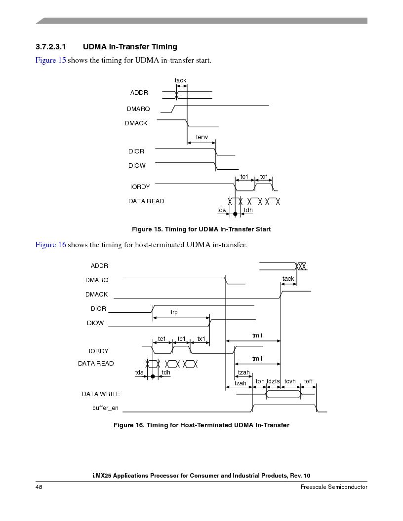 MCIMX253CVM4 ,Freescale Semiconductor厂商,IC MPU I.MX25 IND 400MAPBGA, MCIMX253CVM4 datasheet预览  第48页