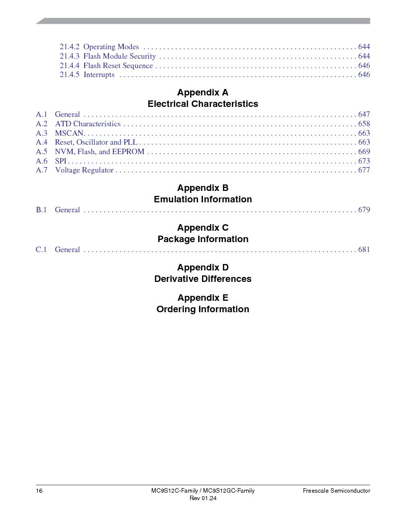 MC9S12GC96VFUE ,Freescale Semiconductor厂商,IC MCU 96K FLASH 25MHZ 80-QFP, MC9S12GC96VFUE datasheet预览  第16页