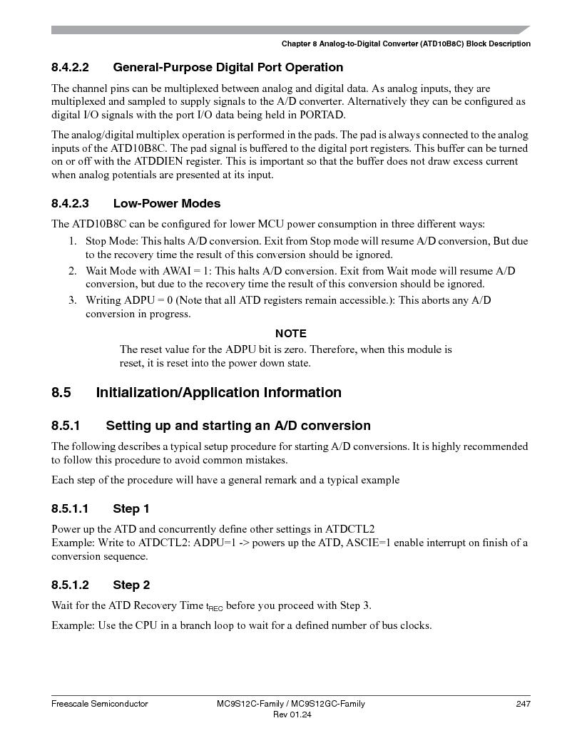 MC9S12GC96VFUE ,Freescale Semiconductor厂商,IC MCU 96K FLASH 25MHZ 80-QFP, MC9S12GC96VFUE datasheet预览  第247页