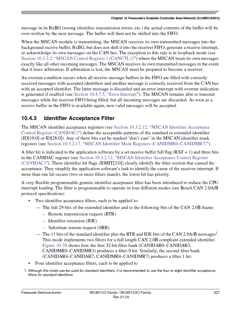 MC9S12GC96VFUE ,Freescale Semiconductor厂商,IC MCU 96K FLASH 25MHZ 80-QFP, MC9S12GC96VFUE datasheet预览  第327页