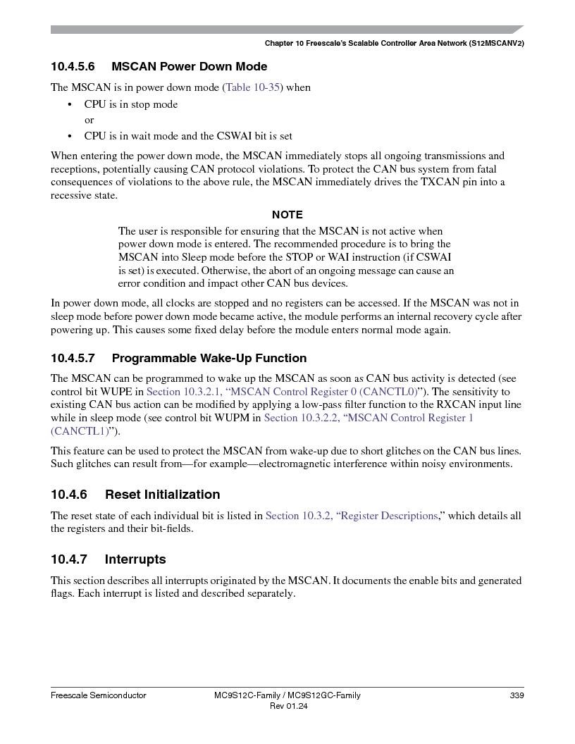 MC9S12GC96VFUE ,Freescale Semiconductor厂商,IC MCU 96K FLASH 25MHZ 80-QFP, MC9S12GC96VFUE datasheet预览  第339页