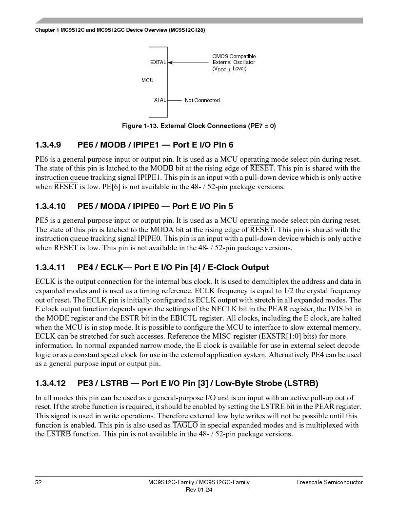 MC9S12GC96VFUE ,Freescale Semiconductor厂商,IC MCU 96K FLASH 25MHZ 80-QFP, MC9S12GC96VFUE datasheet预览  第52页